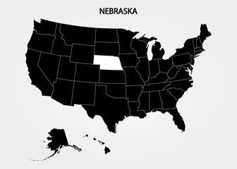 Nebraska. States of America territory on gray background. Separate state. Vector illustration