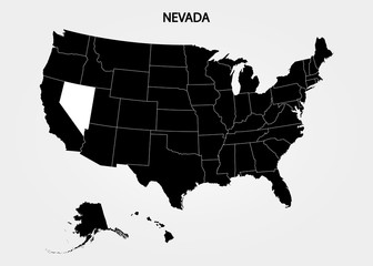 Nevada. States of America territory on gray background. Separate state. Vector illustration