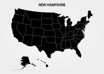 New Hampshire. States of America territory on gray background. Separate state. Vector illustration