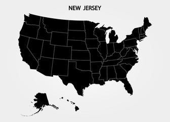 New Jersey. States of America territory on gray background. Separate state. Vector illustration