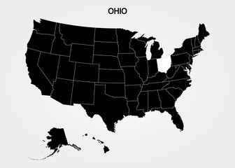 Ohio. States of America territory on gray background. Separate state. Vector illustration