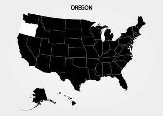 Oregon. States of America territory on gray background. Separate state. Vector illustration