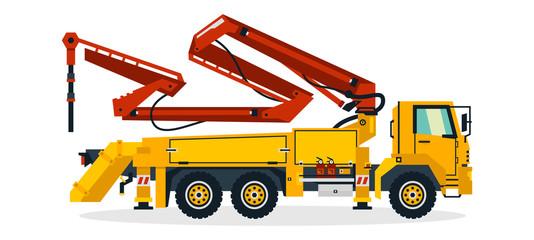 Concrete pump, commercial vehicles, construction equipment. Concrete pump truck working on construction sites. Vector illustration