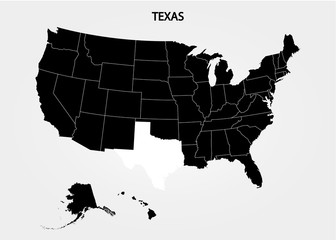Texas. States of America territory on gray background. Separate state. Vector illustration