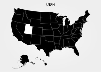 Utah. States of America territory on gray background. Separate state. Vector illustration