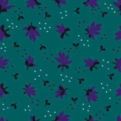 Seamless Floral Pattern. Fashion textile pattern with little violet flowers and leaves on teal background. Vector illustration.