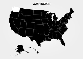 Washington State. States of America territory on gray background. Separate state. Vector illustration