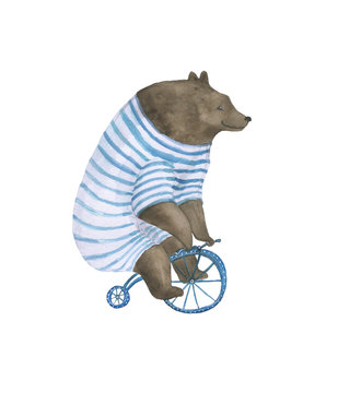 Watercolor painting a bear on the bike isolated on white