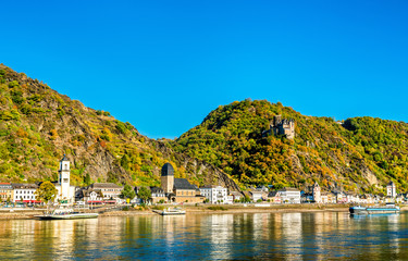 Katz Castle above Sankt Goarshausen town in the Rhine Gorge, Germany
