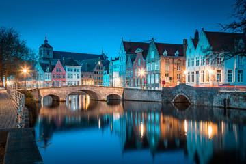 Historic city of Brugge at twilight, Flanders region, Belgium