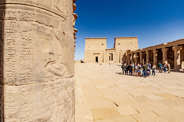 Philae Egyptian temple of Isis god in Aswan. Focus on the stone carved hierogliph on the left.