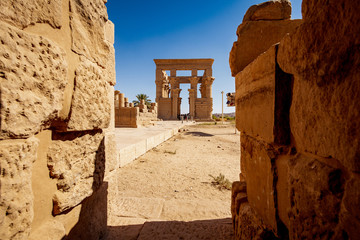 The old Trajan Kiosk at Philae Temple in Aswan Egypt