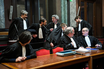 Lawyers wait for the start of the trial of Nemmouche and Bendrer at Brussels' Palace of Justice