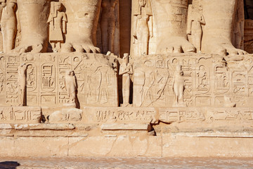 Hyeroglyphs at Abu Simbel  Temple depicting Horus and king Ramesses The Great at Abu Simbel Village near Aswan, Egypt
