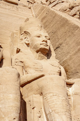 Abu Simbel UNESCO site rock carved statue of Ramesses II or Ramsses the great near Abu Simbel village Egypt