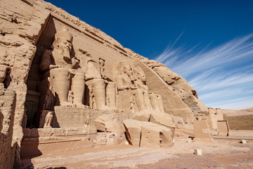 Panoramic view of the main temple at Abus Simbel Aswan Egypt