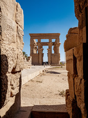 Egyptian heritage Trajan Kiosk inside the Temple of Isis Philae in Aswan