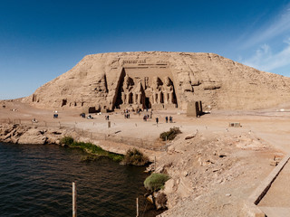 Panorama with Abu Symbel temple and Nasser lake in front