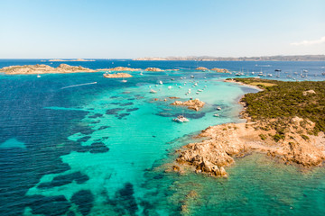 Drone aerial view of Razzoli, Santa Maria and Budelli islands in Maddalena Archipelago, Sardinia, Italy. Maddalena Archipelago is a group of islands between Corsica and north-eastern Sardinia.