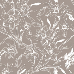 Papiers peints Fleurs Vintage Monochrome graphic seamless pattern with hand drawn flowers daffodils.