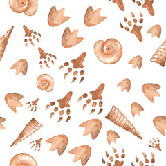 Watercolor seamless pattern with traces of dinosaurs, seashells on a white background. The texture of the prehistoric period for packaging, scrapbooking, wallpaper.