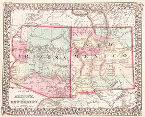 1877, Mitchell Map of Arizona and New Mexico