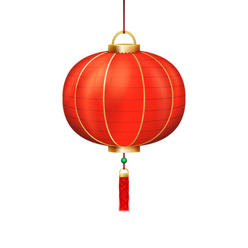 Chinese holiday paper lantern sign isolated icon 3d realistic design vector illustration