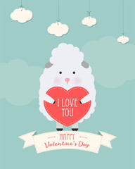 Vector cartoon style illustration of Valentine's day romantic gift card with cute sheep holding heart in his hands. Be My Valentine text.