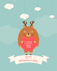 Vector cartoon style illustration of Valentine's day romantic gift card with cute deer holding heart in his hands. Be My Valentine text.