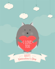 Vector cartoon style illustration of Valentine's day romantic gift card with cute wolf holding heart in his hands. Be My Valentine text.