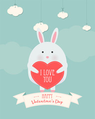 Vector cartoon style illustration of Valentine's day romantic gift card with cute rabbit holding heart in his hands. Be My Valentine text.