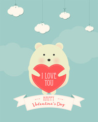 Vector cartoon style illustration of Valentine's day romantic gift card with cute white bear holding heart in his hands. Be My Valentine text.