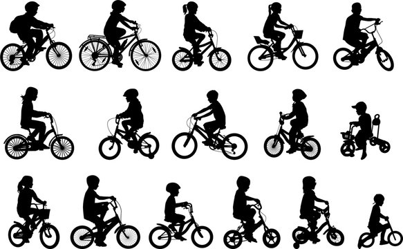 children riding bicycles silhouettes collection