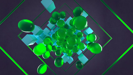 Abstract 3d rendering of chaotic particles. Colored cubes and sphere in empty space. Black background