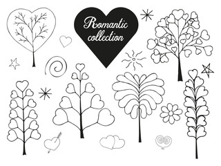 Floral collection of hand drawn romantic herbs. Isolated on white. monochrome. Vector illustration.