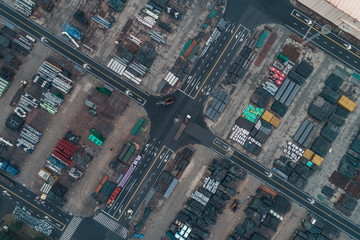aerial view of raw industrial material in cargo port