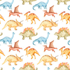 Watercolor seamless pattern with dinosaurs, mountains, palm trees, plants. The texture of the prehistoric period for packaging, scrapbooking, wallpaper.