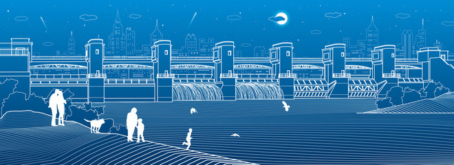 Hydro power plant. River Dam. Energy station. Water power.  People walk along shore. City infrastructure industrial illustration panorama. Urban life. White lines on blue background. Vector design art