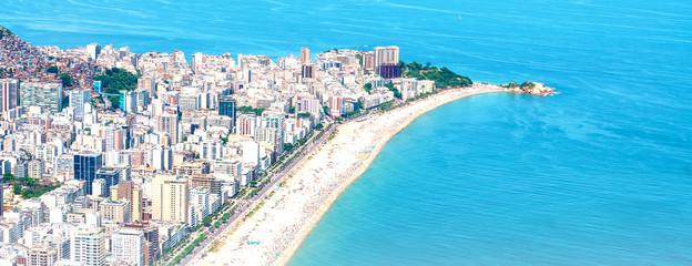 Wall Mural - Rio's Best Beaches with turquoise water: famous Copacabana Beach, Ipanema Beach, Barra da Tijuca Beach in Rio de Janeiro, Brazil. Aerial view of Rio de Janeiro from helicopter. Top view, horizontal