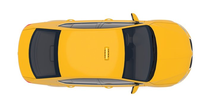 Taxi car top down view. For taxi service app, transport company ad, infographics