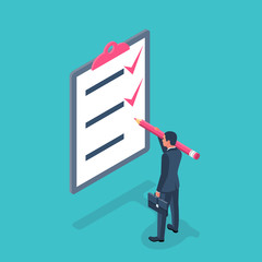 List completed tasks. Vector illustration isometric design. Isolated on white background. Checklist successfully completed. Red checkbox. Businessman holding a big pencil. Completion goal. Checkbox
