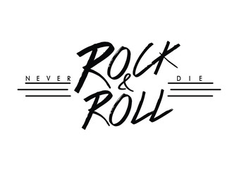 Rock and roll print in vector. Rock text in black and white colors.