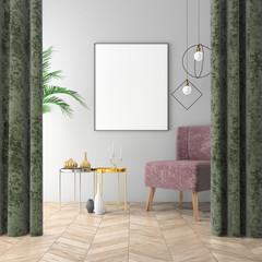 Mock up interior background with velvet chair, scandinavian style, 3d render
