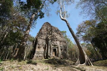 Kampong Thom, Cambodia-January 12, 2019: A temple called S1 at Prasat Yeah Puon in Sambor Prei Kuk in Cambodia