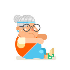 Granny healthy activities fitness adult old age woman character cartoon flat design vector illustration