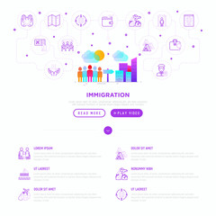 Immigration web page template with gradient flat icons: immigrants moving to the big city. Modern vector illustration.