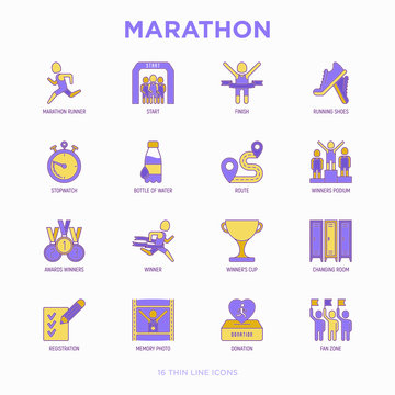 Marathon thin line icons set: runner, start, finish, running shoes, bottle of water, route, award, changing room, memory photo, donation, fan zone. Vector illustration.