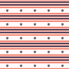 Hand drawn coral blue flower stripes. Seamless vector pattern. Trendy stylish tiny striped daisy all over print. Illustration for masculine gift wrapping or classic background.