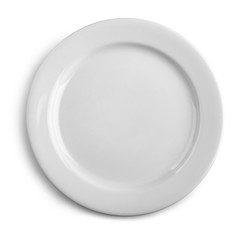 Top view on white plate
