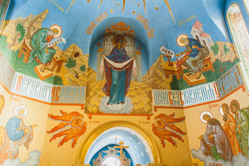 an interior of the Church of the Intercession of the Holy Virgin by sunny winter day